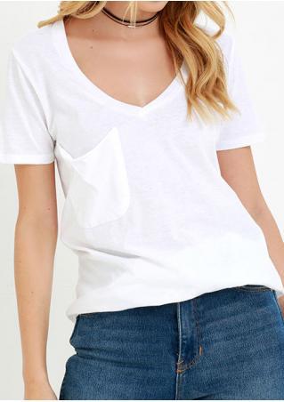 Solid Pocket V-Neck Casual T-Shirt