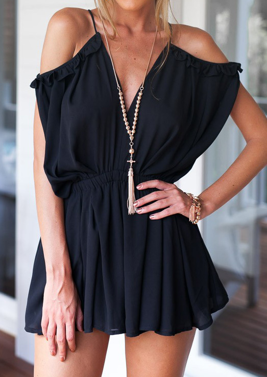 Solid Ruffled Off Shoulder Sexy Romper 17810