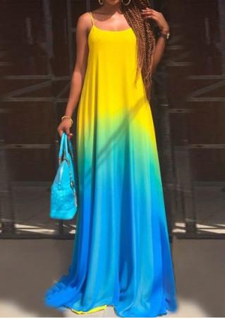 Gradient Color Sleeveless Maxi Strap Dress