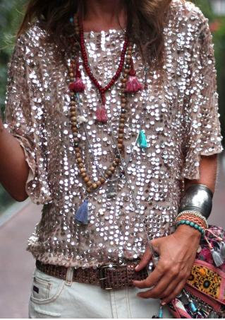 Sequined Bling Bling Splicing Fashion Blouse