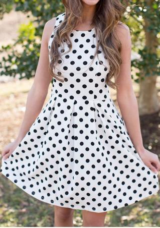 Polka Dot Printed Zipper Ruffled Casual Dress