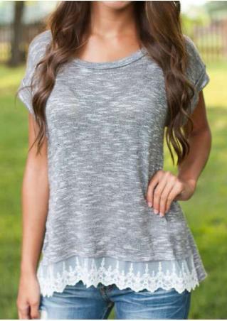 Lace Splicing Slit Fashion Blouse