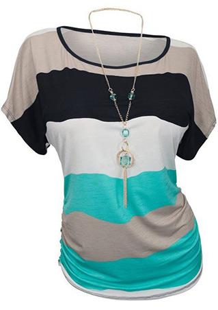 Color Block Plus Size Casual Blouse Without Necklace