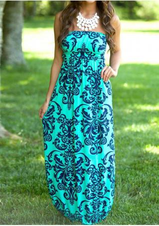 Printed Backless Maxi Strapless Dress