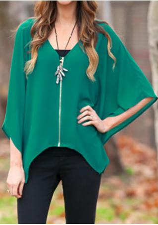 Solid Chiffon Zipper Irregular Fashion Blouse