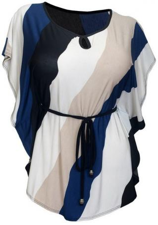 Color Block Ruffled Plus Size Blouse With Belt