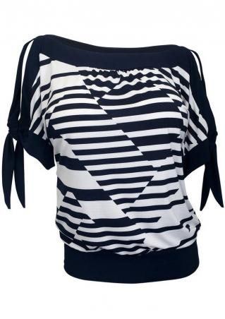 Striped Splicing Knot Hollow Out Plus Size Blouse