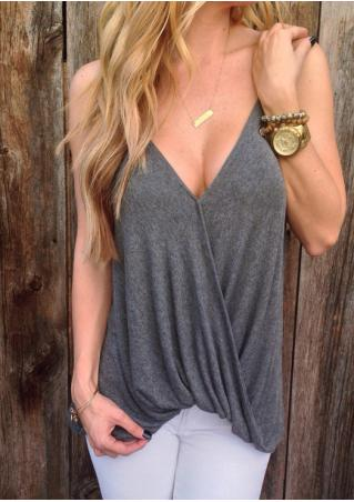 Solid Cross Ruffled Fashion Camisole