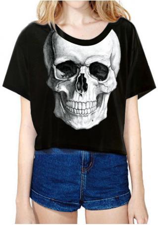 Skull Printed Fashion Crop Top