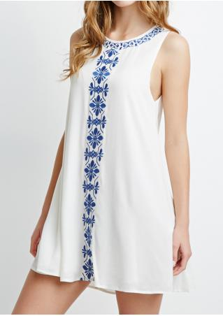 Printed Sleeveless O-Neck Casual Mini Dress