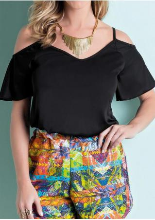 Solid Off Shoulder Fashion Blouse Without Necklace
