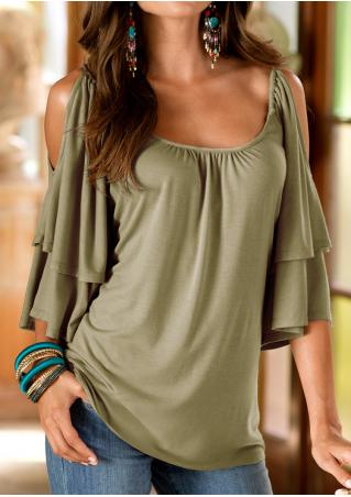 Solid Layered Ruffled Off Shoulder Stylish Blouse