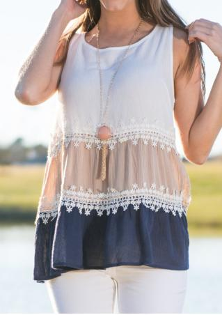 Color Block Lace Ruffled Blouse Without Necklace Color