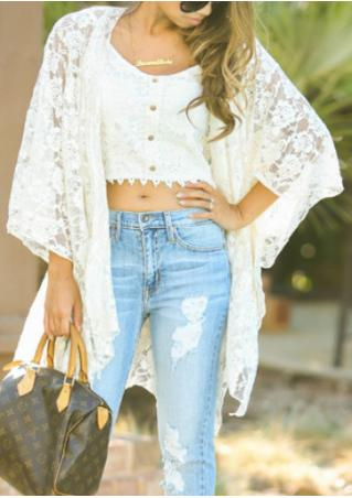 Solid Lace Three Quarter Sleeve Fashion Kimono