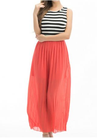 Striped Splicing Backless Sexy Maxi Dress