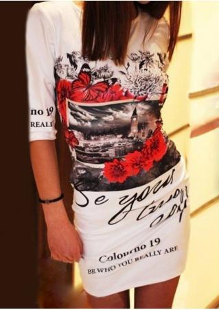 Printed Half Sleeve Casual Mini Dress