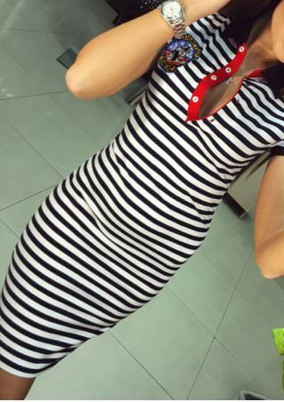 Striped Button Short Sleeve Mini Dress