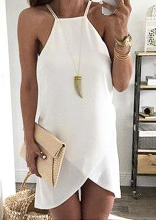 Solid Sexy Mini Strap Dress Without Necklace