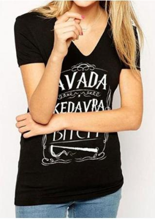 Letter Printed Fashion T-Shirt Without Necklace
