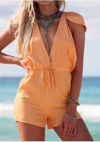 Solid Drawstring Sexy Romper Without Necklace