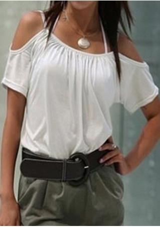 Solid Spaghetti Strap Fashion Blouse Without Necklace
