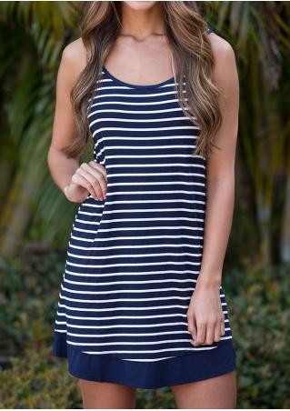 Striped Cross Lace Splicing Mini Dress