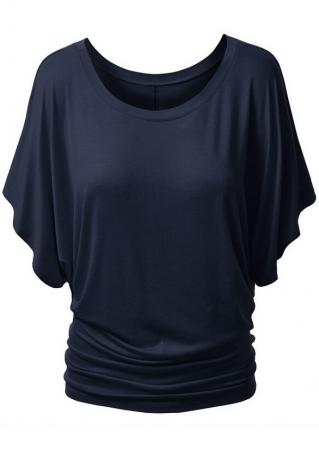 Solid Batwing Sleeve Fashion Blouse Solid