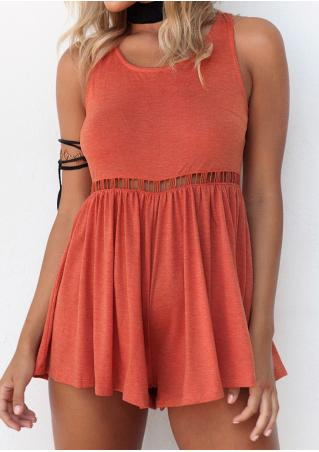 Solid Hollow Out Backless Sexy Romper