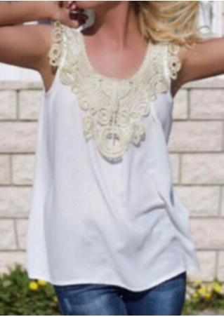 Lace Splicing Sleeveless Fashion Tank