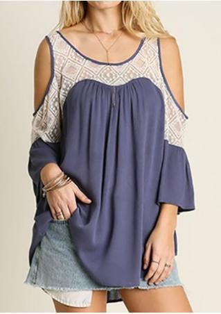 Lace Splicing Off Shoulder Blouse Without Necklace