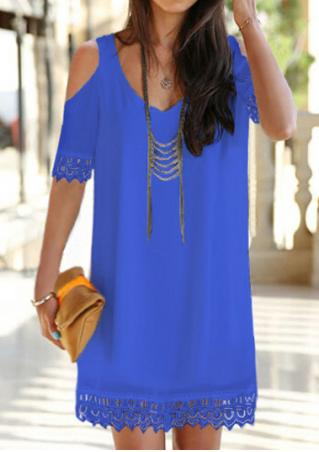 Solid Lace Splicing Shift Dress Without Necklace