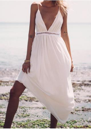 Solid Lace Splicing Backless Sexy Strap Dress