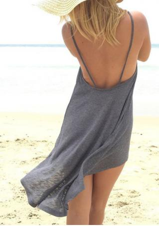 Solid Backless Irregular Strap Dress Without Necklace