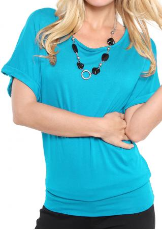 Solid Short Sleeve Fashion Blouse Without Necklace
