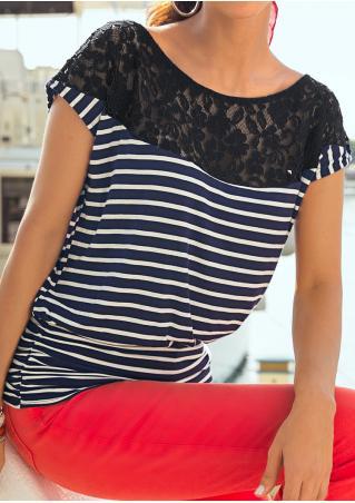 Striped Lace Splicing Fashion T-Shirt