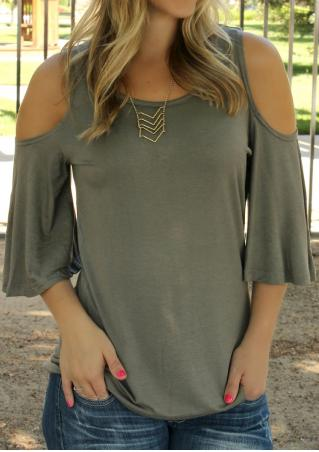 Solid Hollow Out Fashion Blouse Without Necklace
