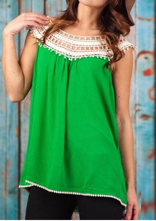 Lace Splicing Sleeveless Fashion Blouse