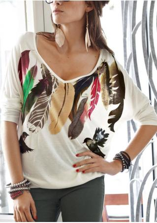 Feather Printed V-Neck Fashion Blouse