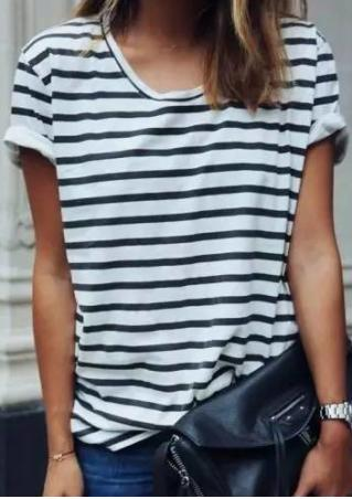 Striped Short Sleeve Casual T-Shirt