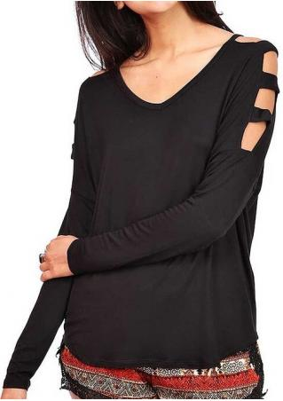 Solid Hollow Out Long Sleeve Fashion Blouse