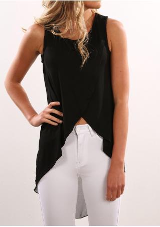 Solid Irregular Sleeveless Fashion Blouse