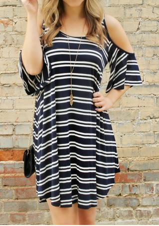 Striped Off Shoulder Strap Dress Without Necklace