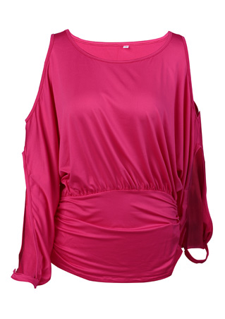 Solid Off Shoulder Batwing Sleeve Fashion Blouse