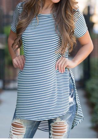 Striped Irregular Slit Short Sleeve Fashion Blouse