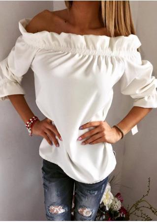 Solid Ruffled Slash Neck Fashion Blouse