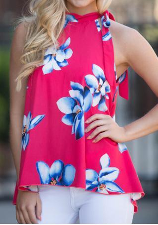 Floral Chiffon Knot Sleeveless Fashion Blouse