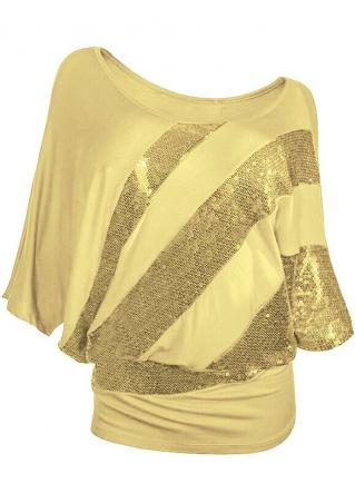 Sequined Splicing Batwing Sleeve Fashion Blouse