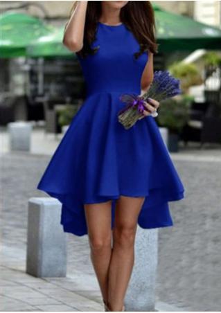 Solid Irregular Sleeveless Fashion Party Dress