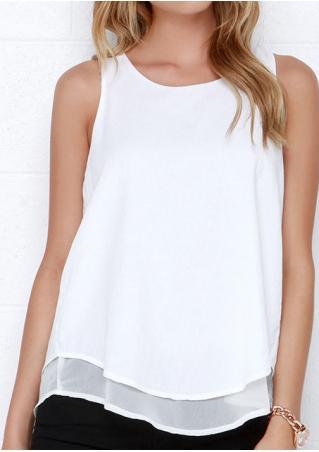 Solid Layered Back Slit Sleeveless Fashion Blouse