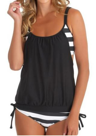 Striped Splicing Spaghetti Strap Sexy Tankini - Black